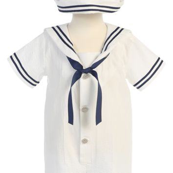 White Cotton Seersucker Nautical Sailor Romper Spring Outfit w Navy Blue Stripes (Baby Boys)