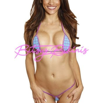 Bitsy's Bikinis Blue and Purple Plaid Gingham Teardrop Micro G-String Extreme Bikini 2pc Thong with Purple String Minimal Coverage Exotic Tan Barely There Bandage