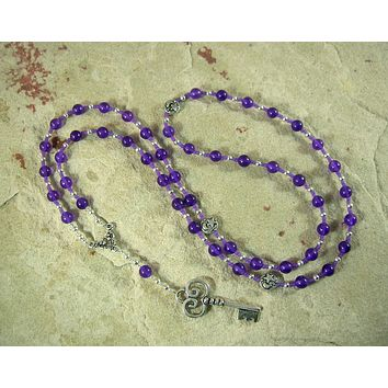 Hekate (Hecate) Prayer Bead Necklace in Amethyst: Greek Goddess of Magic, Witchcraft