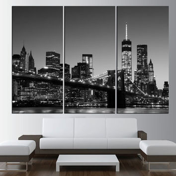 New York Manhattan wall art, large manhattan Skyline canvas print, Manhattan photo print black and white wall art, modern wall decor t454