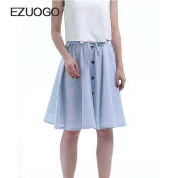 EZUOGO Spring&Summer Women Casual Streetwear Skirt 2017 High Waist Striped Skirts Female Elegant Knee-Length Skirt Light Color