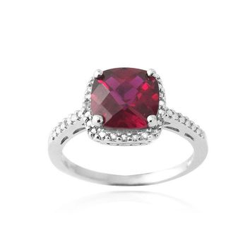 Silver Tone Created Ruby & Diamond Accent Square Ring