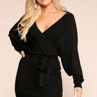 Dress To Impress Black Wrap Dress