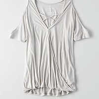 AEO Cold Shoulder Wrap Front T-Shirt , Gray