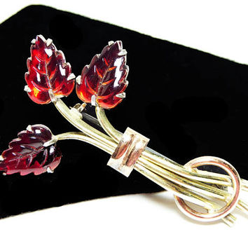 Rare Red Leaf Pin Signed Kreisler, Red Fruit Salad Glass Leaves, Vintage 1940s  Brooch, Tri Colored Metal Yellow Gold, Rose Gold, Silver