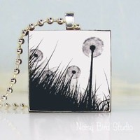 Handmade Art Pendant - No. 007 - Black and White Dandelions