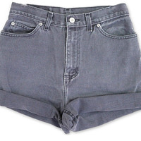 Vintage 90s Gray Medium Wash Colored High Waisted Rise Cut Offs Cuffed Rolled Jean Denim Shorts – Size 28