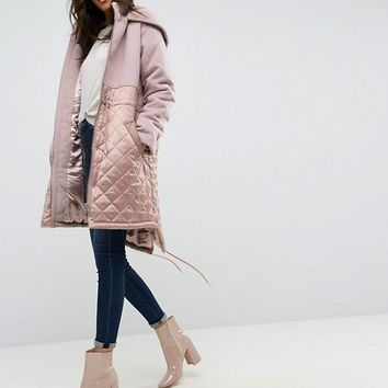 ASOS Parka in Mixed Fabrics at asos.com