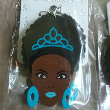African Black Woman Girl  Cutout Wooden Hook Earrings/Vintage Look /Womens Queen Female silhouette earrings/Afro Natural BIG Hair BROWN GIFT