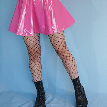 Pink PVC Vinyl Skater Mini Skirt - Gothic Punk Skirt - Fetish Clothing - Sexy Wet Look - PVC Skirt
