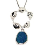 Blue Boulder Opal Flower Pendant Necklace