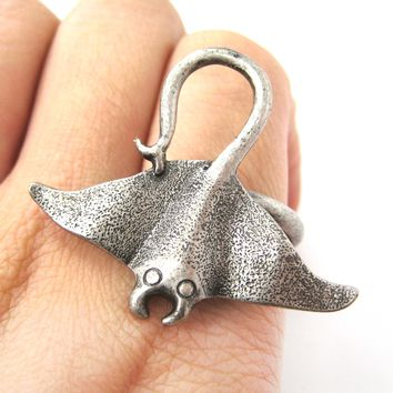 Stingray Adjustable Sea Animal Ring in Silver | Animal Jewelry