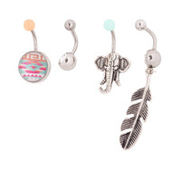 14G Aztec, Elephant and Crystal Belly Rings Set of 4