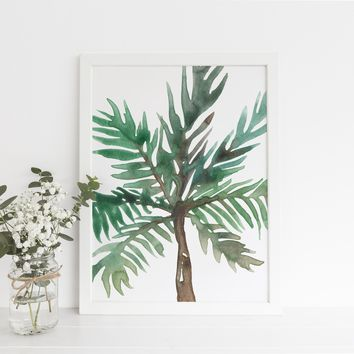 Watercolor Abstract Palm Tree Art Print