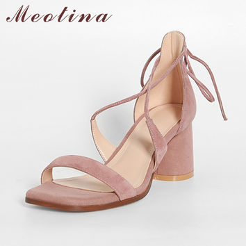 Meotina Women Sandals Summer Genuine Leather Shoes Square Toe High Heel Sandals Suede Leather Shoes Women Cross Strap High Heels
