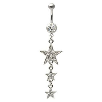 Mishbehave Stainless Steel Cubic Zirconia Descending Star Belly Ring - Silver