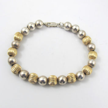 14K Gold Ball Bead Sterling Bead Bracelet, Vintage Yellow Gold Ribbed Fluted and Sterling Silver Beaded Stacking Link Bangle, 6.50 Inches