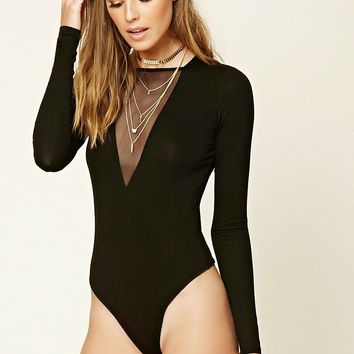 Contemporary Mesh-Front Bodysuit