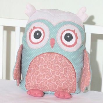 Custom Owl, Stuffed Owl Pillow, Coral Pink, Mint Green Custom Baby Pillow