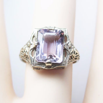 Art Deco 14K Filigree Amethyst Ring Size 7