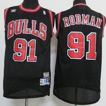 Best Deal Online Mitchell & Ness Hardwood Classics NBA Basketball Jerseys Chicago Bulls #91 Dennis Rodman Black