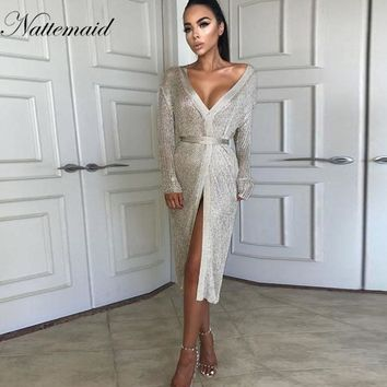 NATTEMAID stretchable women summer sexy beach dress hollow out casual dresses party evening elegant knitted dress vestidos