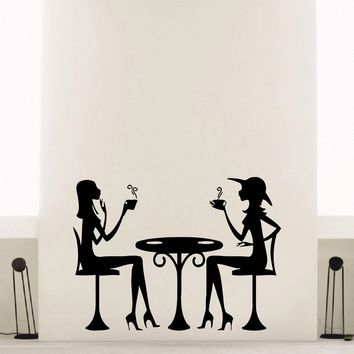 Wall Decal Vinyl Sticker People Coffee Tea Cafe Restaurant Decor Sb965