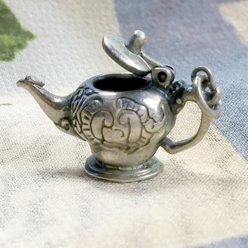 Vintage Teapot Sterling Silver Charm Pendant Signed MFA Museum Fine Arts Collectible Articulated Charm Teapot Lid Opens Hinged Cute!
