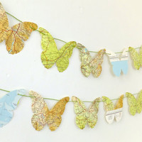 Map Bunting, butterfly bunting, paper garland, Merseyside map butterflies, butterfly banner, map garland, eco-friendly, nursery decor