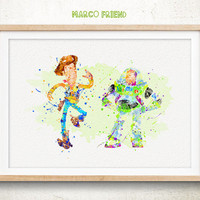 Buzz Lightyear & Woody Toy Story - Watercolor Art Print, Room Decor, Disney Poster, Home Baby Nursery Wall Art
