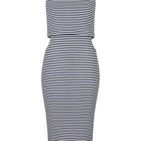 Striped Cut-Out Midi Dress - Navy Blue
