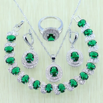 Reginababy 925 Stamp Green Rhinestone White Zircon Jewelry Set Silver color For Women Bracelets/Necklace/Earrings/Ring