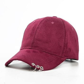 2017 New Women Baseball Hats solid Ring Safety Pin curved hats  Sunshade Gorras Vintage Hip hop  Suede snapback caps casquette