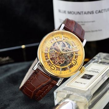 PEAP O038 Omega Stainless Resistant Leather Strap Watches Gold Maroon
