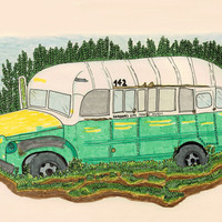 Into the wild Magic Bus Art Print by Pily Clix