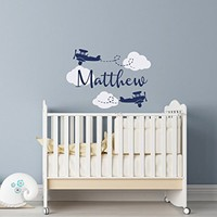 WonderWallzStore Airplane Name Wall Decal - Personalized Name Wall Decal - Airplane Nursery Wall Decal - Flying Planes Boys Nursery Wall Decal Airplane Decor