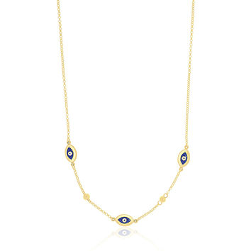 14K Yellow Gold Evil Eye Station Chain Necklace