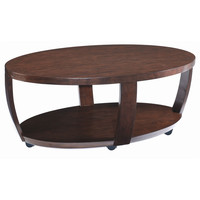 Solid Hardwood Oval Mobile Coffee Table with Castors