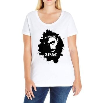tupac shakur (3) Ladies Curvy T-Shirt