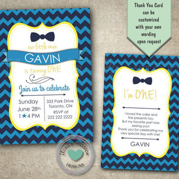 Bow Tie Birthday Invitation - First Birthday Party - Little Man Birthday Invitation