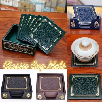 Set of 6 Square PU Leather Placemat Coasters Cup Mats with Holder Home Decoration Table Decor