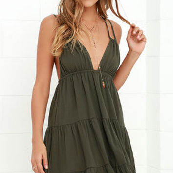 Somewhere Out There Olive Green Dress