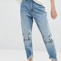 ONETOW Boyfriend jeans for women vintage distressed jeans Embroidery Cat High Waist Denim Pant Mom jeans  PT037