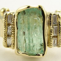 Green Beryl Artifact Ring in 18k Gold by wexfordjewelers on Etsy