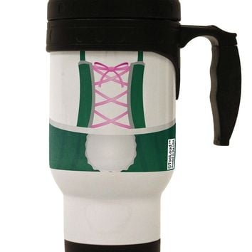 Dirndl Costume Green Stainless Steel 14oz Travel Mug All Over Print by TooLoud