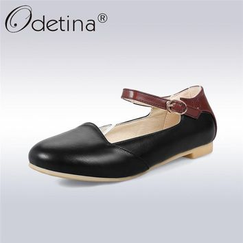 Odetina 2018 New Fashion Mary Janes Flats For Women Ankle Strap Solid Elegant Ladies Shoes Buckle Strap Flats Big Size 33-43