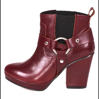 Punch Spanish Leather Belted Motorcycle Ankle Boots in Burgundy by To Be Announced | Edge of Urge