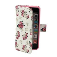 Welity Aromatic Rose Flower Pattern Design Pu Leather with wallet Case for Apple iPhone 5C and One Gifts
