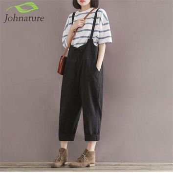 DCCKLW8 Johnature 2017 Summer New Loose Girl Rompers Solid Cotton Linen Vintage Casual Brief Pockets Rompers Womens Jumpsuit