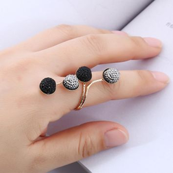 New Simple Resin Drilling Alloy Peas Knuckle Finger Ring Retro Resin Ring Manufacturers Direct Sales